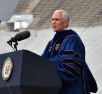 US students walk out during Pence speech