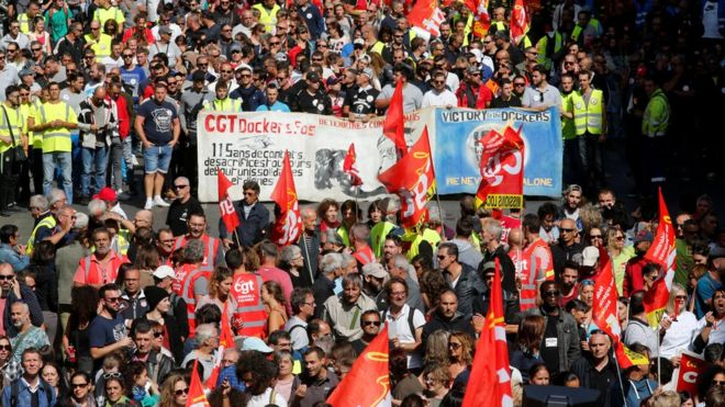 French protests target Macron labour reforms