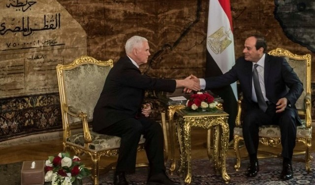 Pence tells Egypt's Sisi that US would back two-state solution