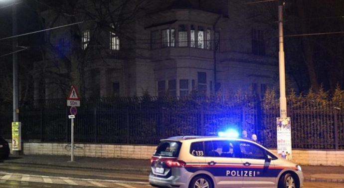 An unknown man was shot dead after trying to stab a soldier outside the Iranian ambassador's residence in Vienna