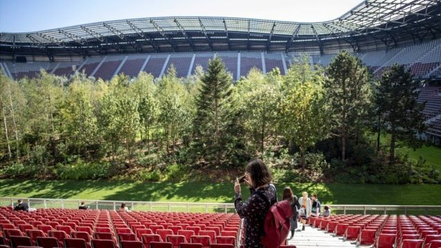 Austrian football stadium hosts forest as dystopian vision comes to life