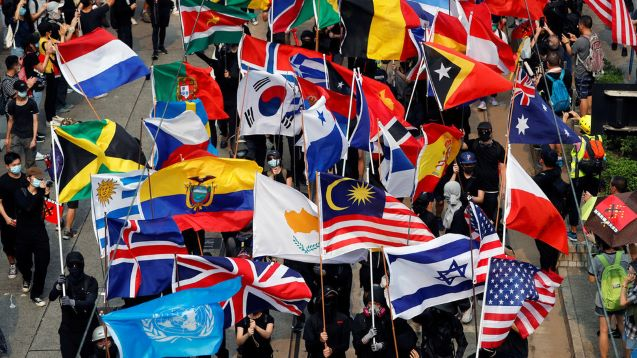 Hong Kong protesters add more foreign flags to their arsenal, including…