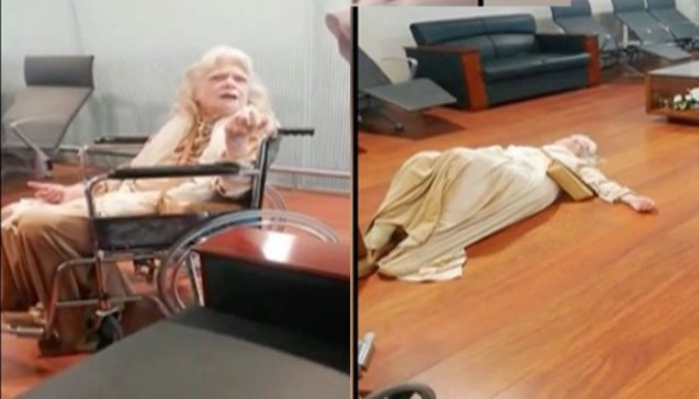 American woman causes scene at Islamabad airport by lying down on the floor