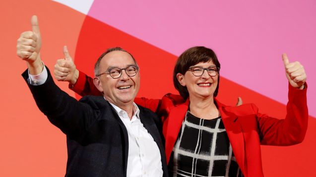 Merkel's party rejects full overhaul of German coalition as SPD elects left-leaning leaders